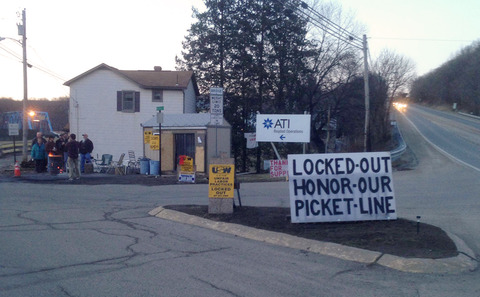 The ATI picket line at Leechburg