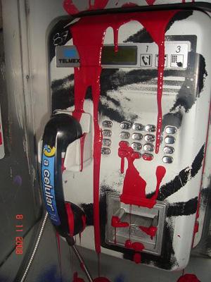 red-paint-telmex-phone