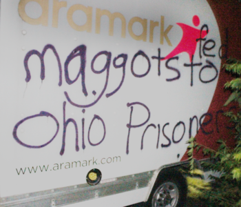 Ohio: Aramark Truck Tagged in Solidarity with Prison Strike