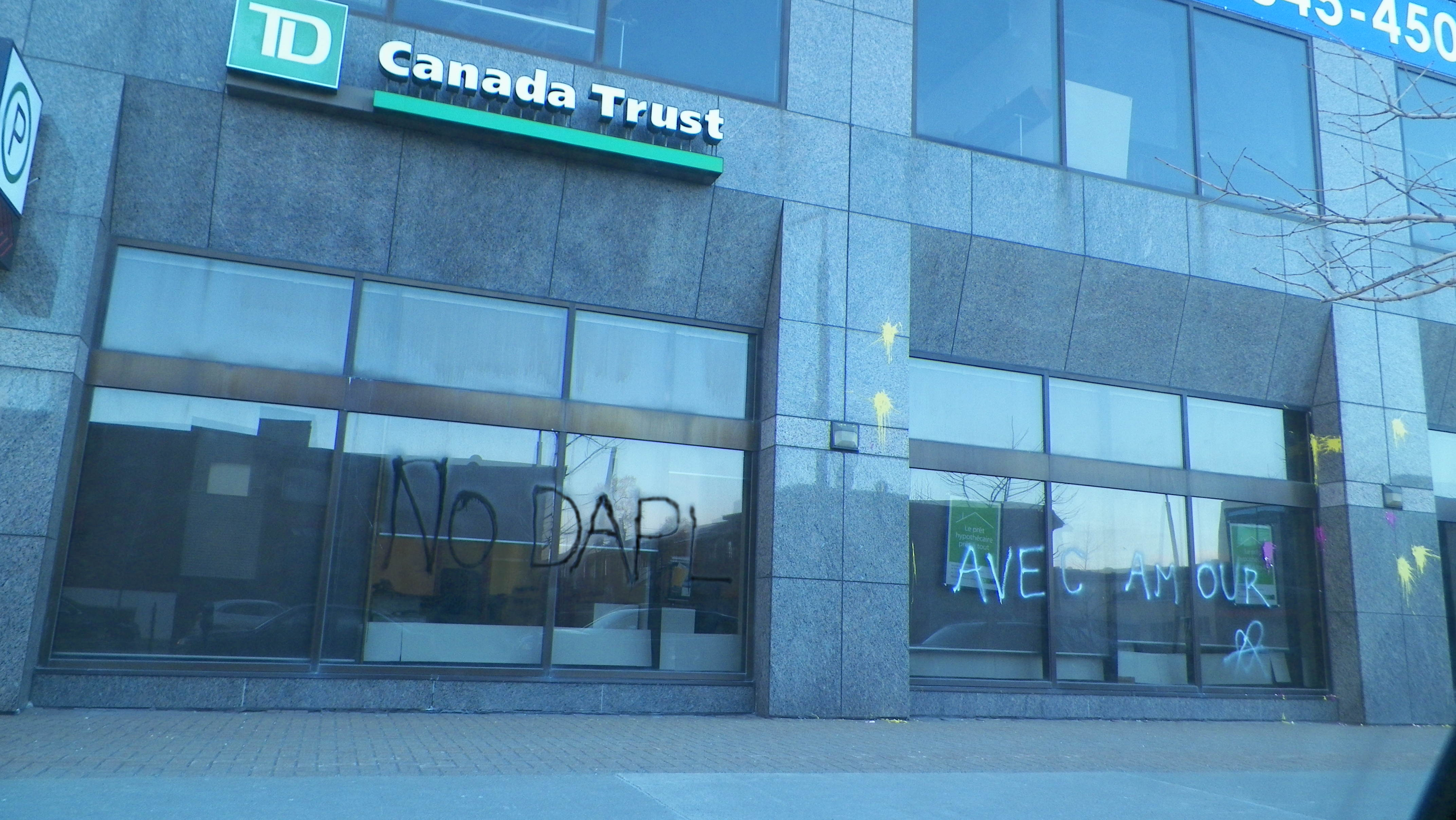 TD bank redecorated in solidarity with Standing Rock - It's Going Down