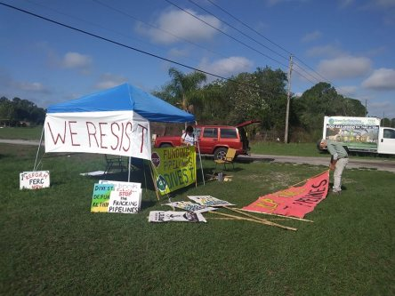 Setting up shop across from Sabal Trail site for June 9 demo