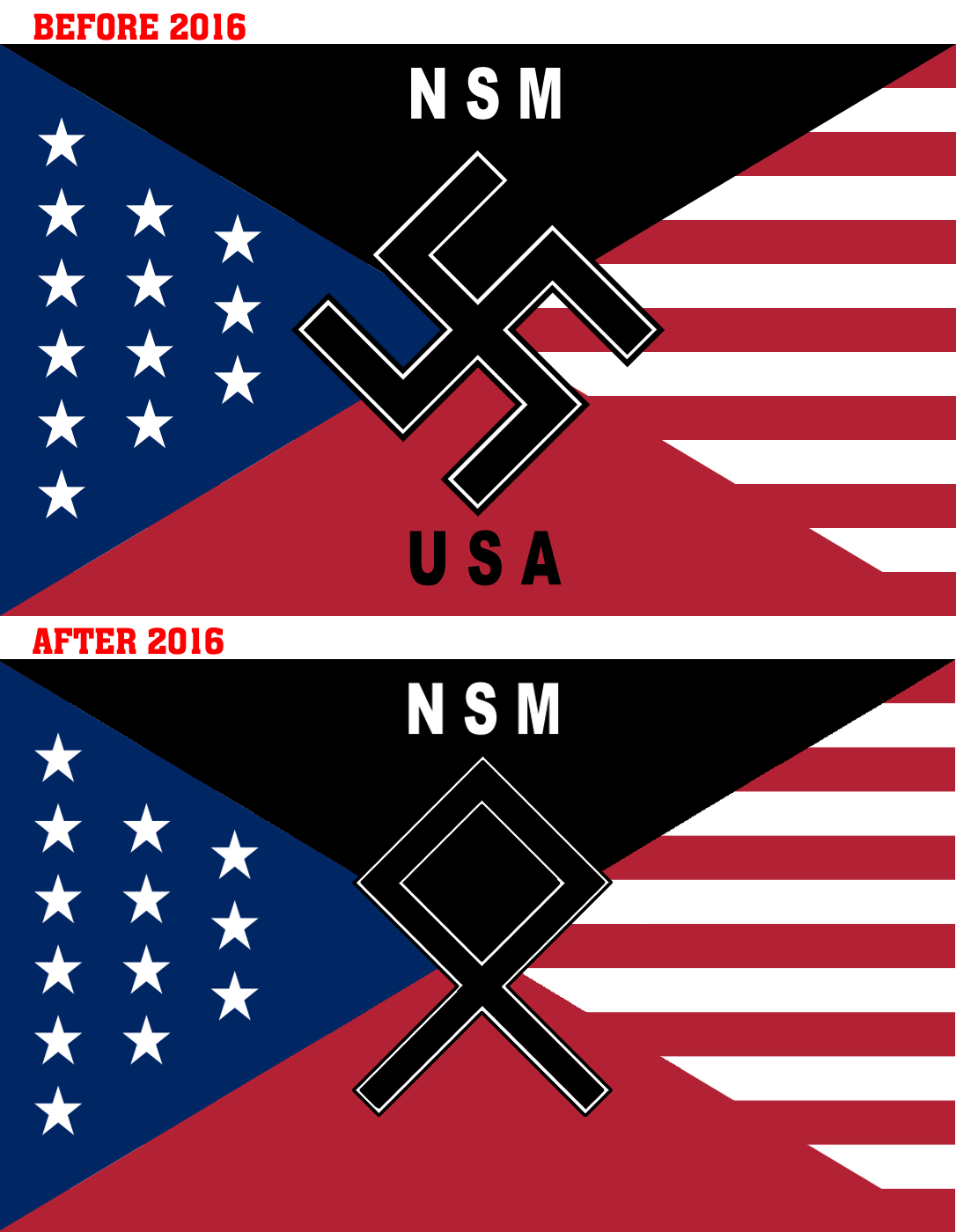 in 2016, the National Socialist Movement changed their logo from the swastika to the Odal rune in an attempt to broaden the appeal of their nazi politics