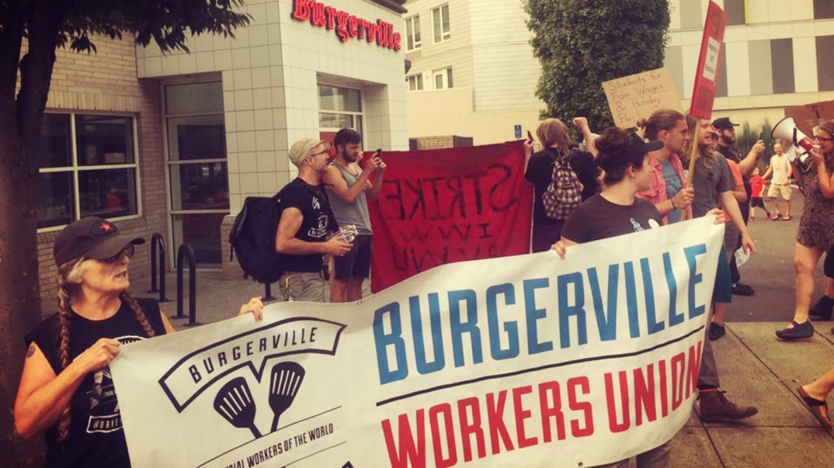 Portland Or Fast Food Workers At Burgerville Launch Strike On