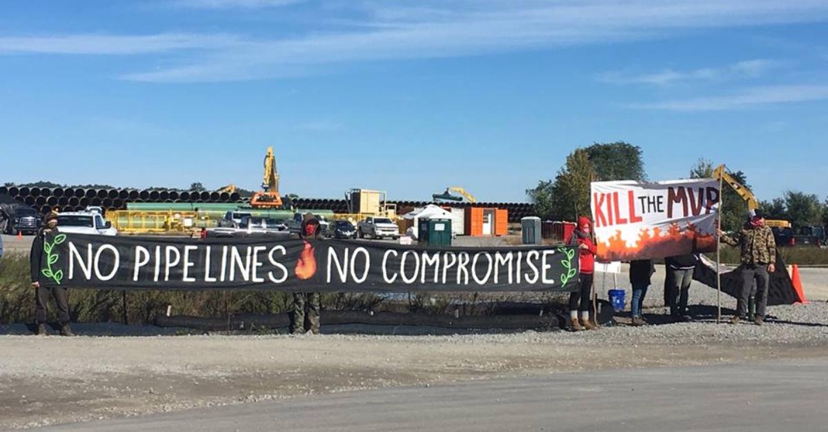 Pipeline Fighter Locks to Equipment Truck at MVP Pipe Yard