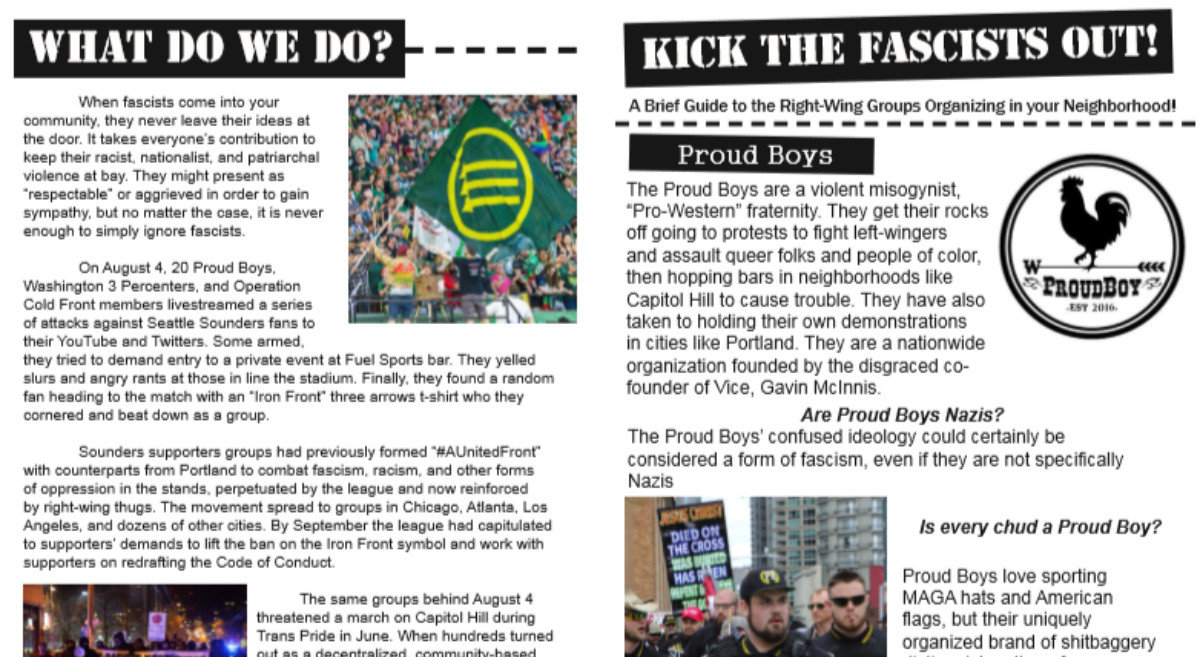 new antifascist outreach flyer for the pacific northwest