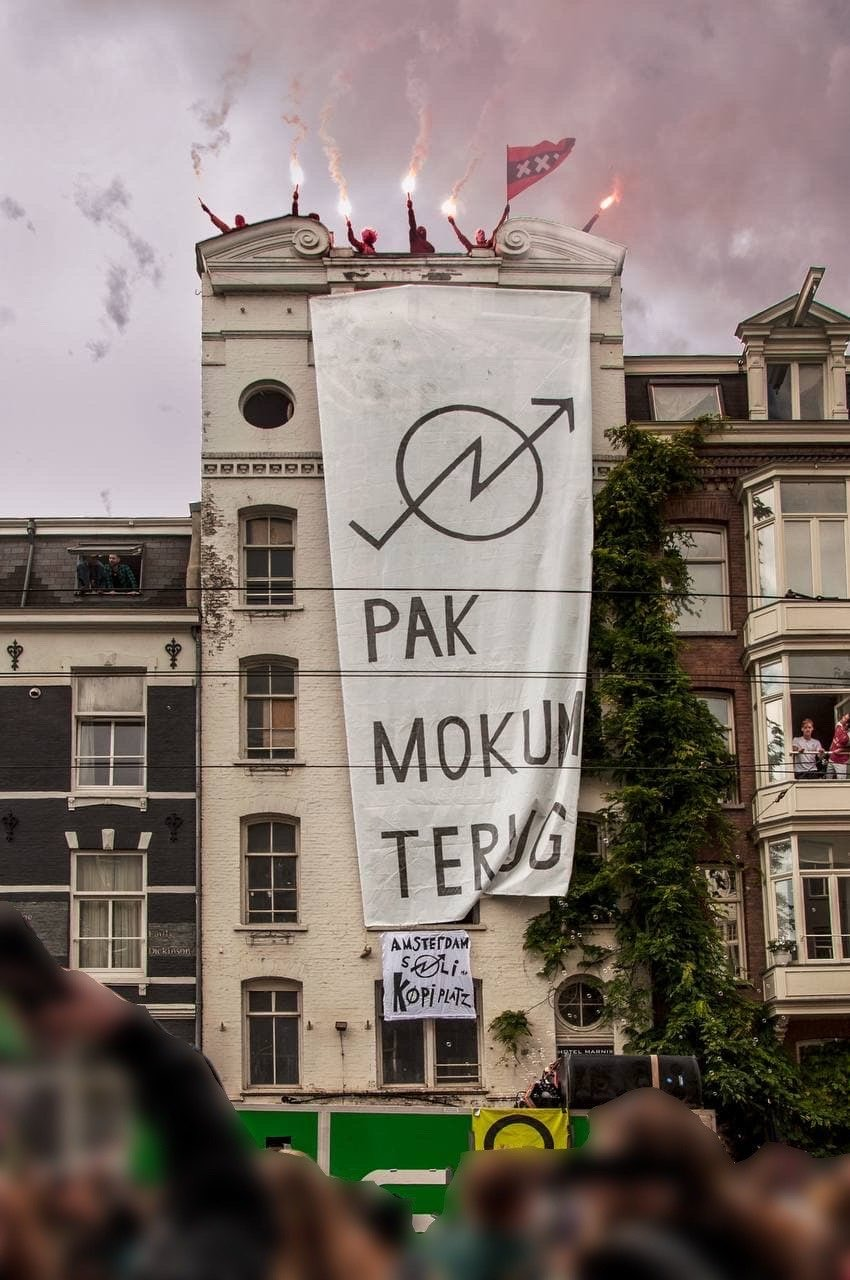 Hotel Mokum, a newly occupied squat in Amsterdam
